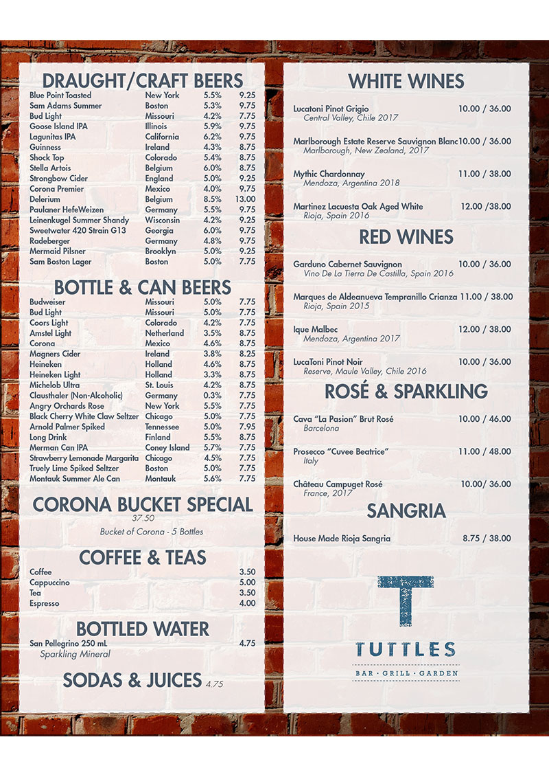 2019 Beer & Wine Menu
