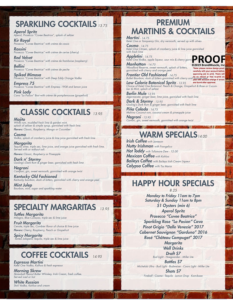 2019 Cocktails Menu